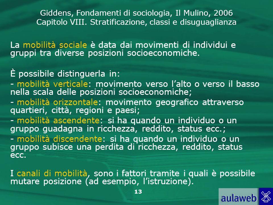Giddens, Fondamenti di sociologia, Il Mulino, 2006 Capitolo VIII. Stratificazione, classi e disuguaglianza 13 La mobilità sociale è data dai movimenti