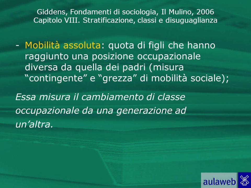 Giddens, Fondamenti di sociologia, Il Mulino, 2006 Capitolo VIII. Stratificazione, classi e disuguaglianza -Mobilità assoluta: quota di figli che hann