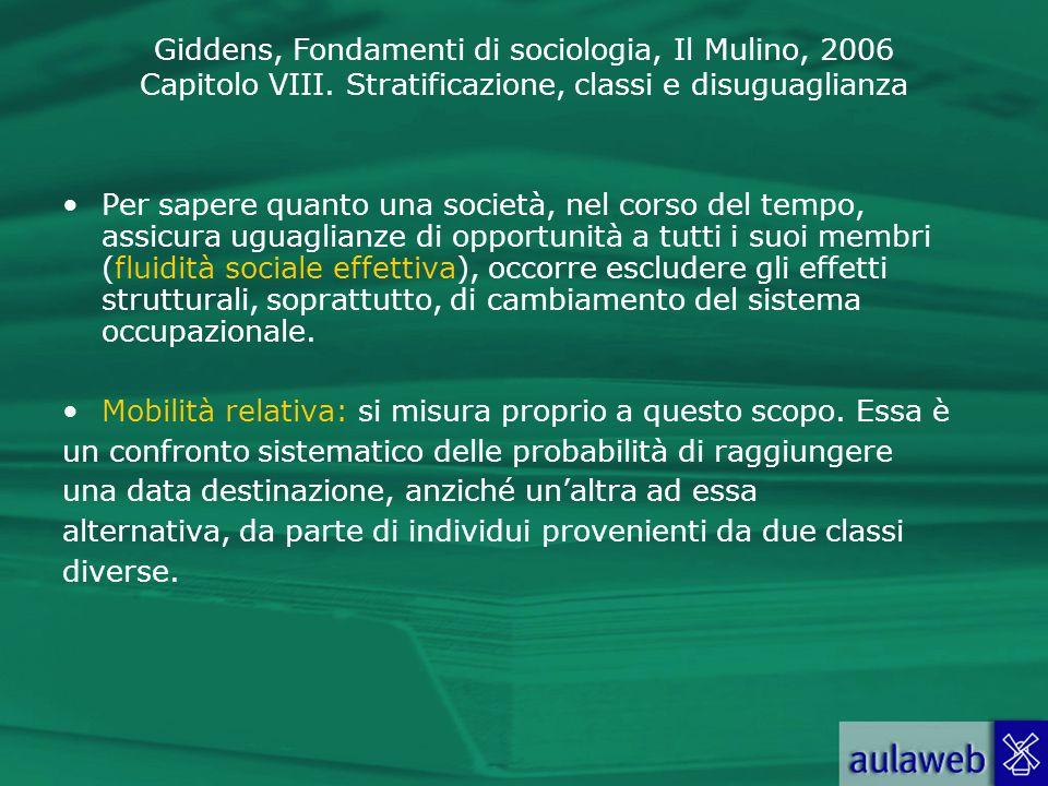 Giddens, Fondamenti di sociologia, Il Mulino, 2006 Capitolo VIII. Stratificazione, classi e disuguaglianza Per sapere quanto una società, nel corso de