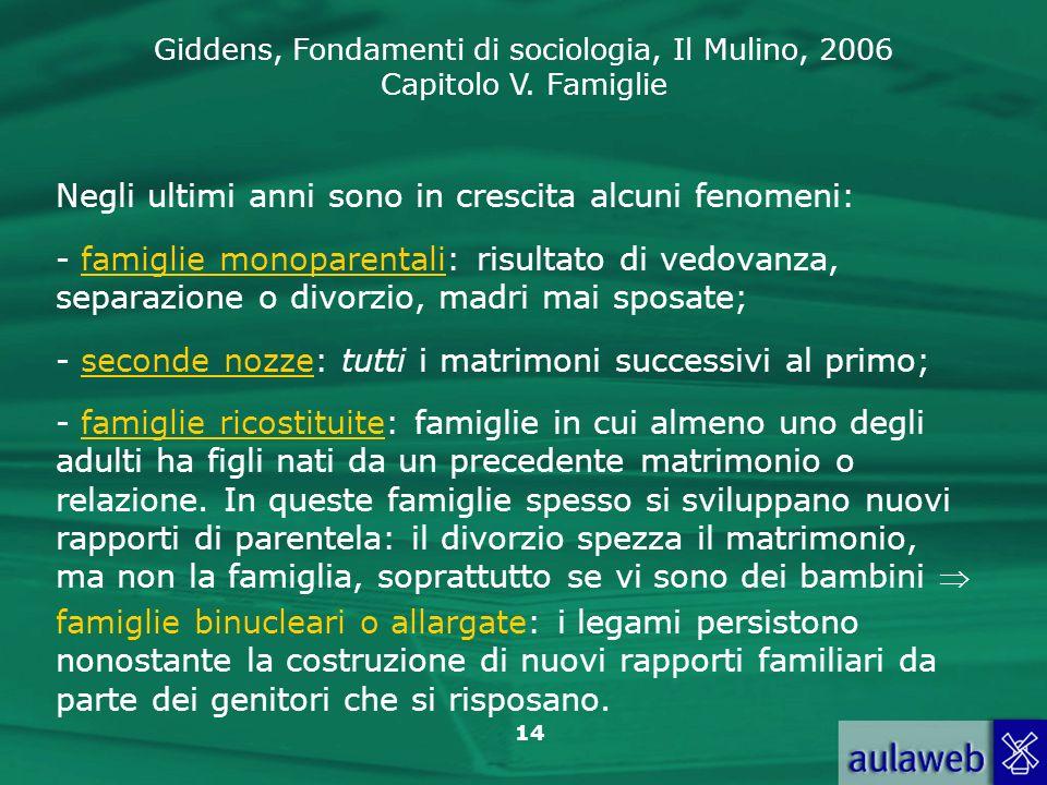 Giddens, Fondamenti di sociologia, Il Mulino, 2006 Capitolo V. Famiglie 14 Negli ultimi anni sono in crescita alcuni fenomeni: - famiglie monoparental
