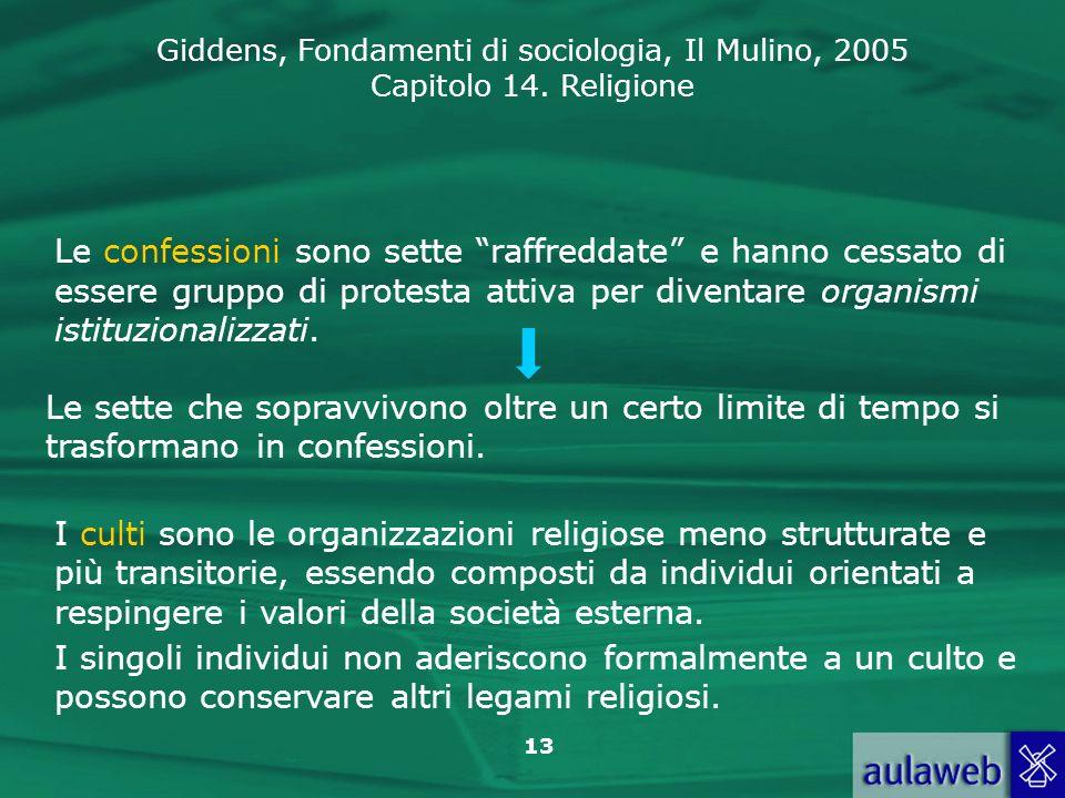 Giddens, Fondamenti di sociologia, Il Mulino, 2005 Capitolo 14. Religione 13 Le confessioni sono sette raffreddate e hanno cessato di essere gruppo di