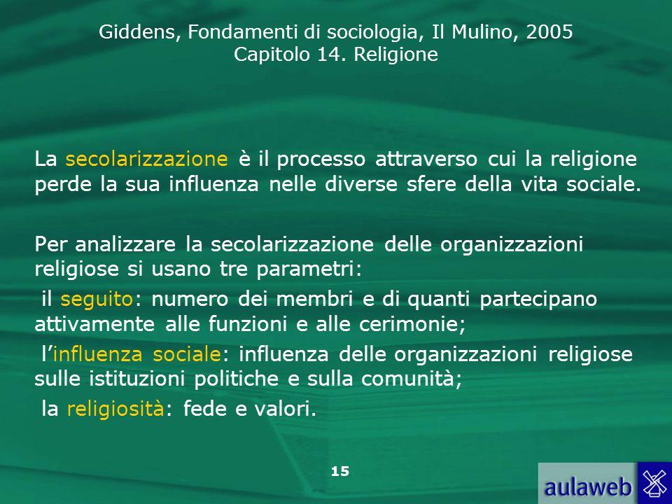 Giddens, Fondamenti di sociologia, Il Mulino, 2005 Capitolo 14. Religione 15 La secolarizzazione è il processo attraverso cui la religione perde la su