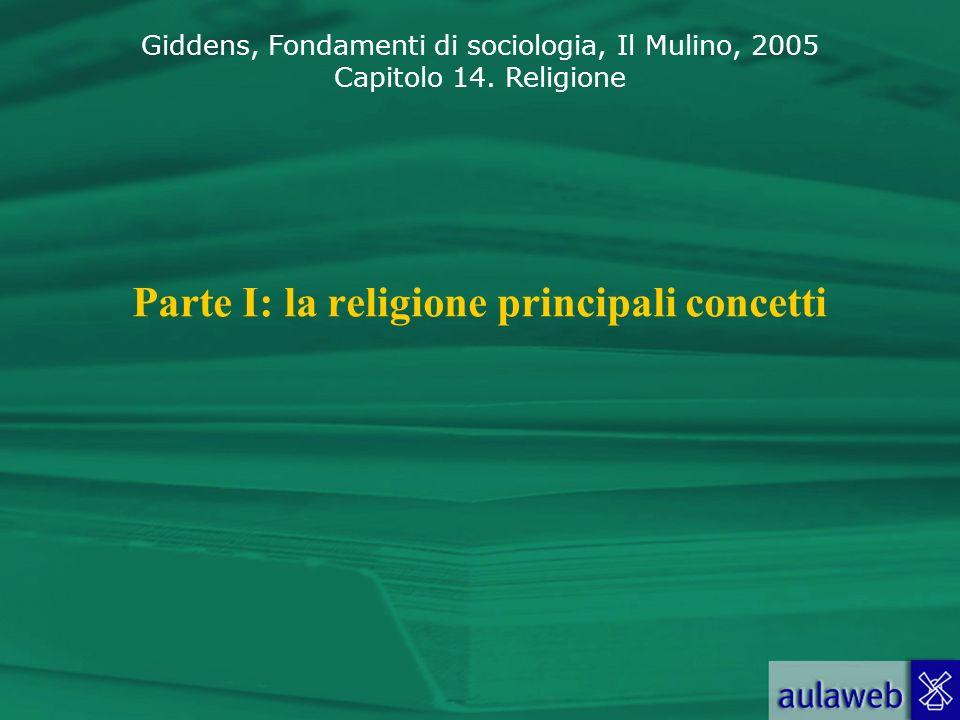 Giddens, Fondamenti di sociologia, Il Mulino, 2005 Capitolo 14. Religione Parte I: la religione principali concetti