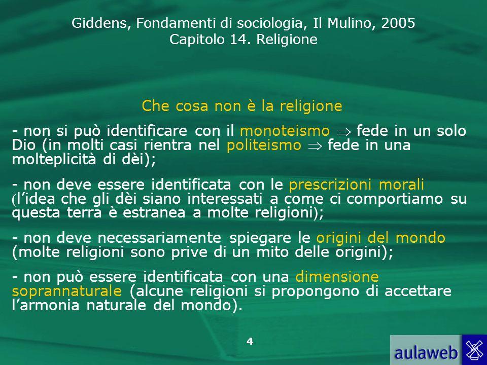 Giddens, Fondamenti di sociologia, Il Mulino, 2005 Capitolo 14. Religione 4 Che cosa non è la religione - non si può identificare con il monoteismo fe