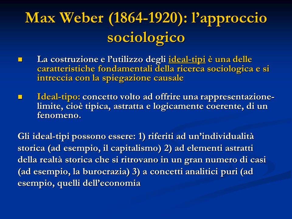 Max Weber (1864-1920): lapproccio sociologico La costruzione e lutilizzo degli ideal-tipi è una delle caratteristiche fondamentali della ricerca socio