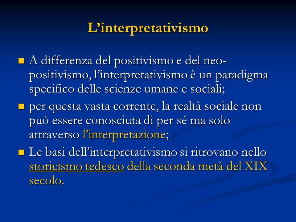 Linterpretativismo contemporaneo - Ontologia: costruttivismo e relativismo; - Epistemologia: non-dualismo e non-oggettività limitato (criterio limite); leggi provvisorie e probabilistiche; - Metodologia: interazione empatica tra studioso e soggetto studiato.