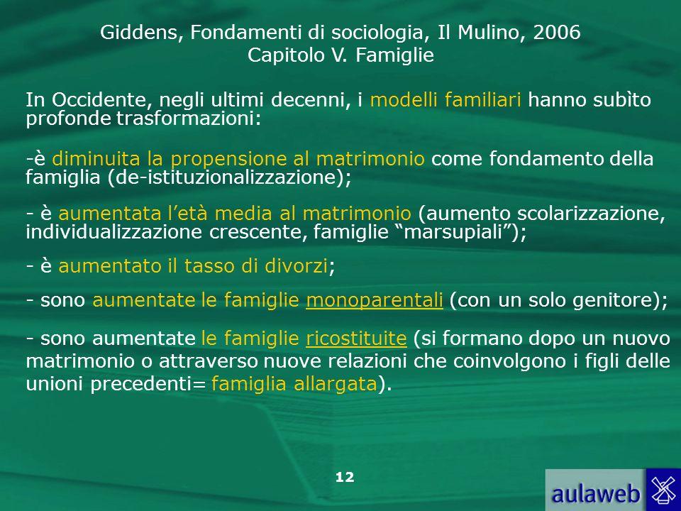 Giddens, Fondamenti di sociologia, Il Mulino, 2006 Capitolo V. Famiglie 12 In Occidente, negli ultimi decenni, i modelli familiari hanno subìto profon