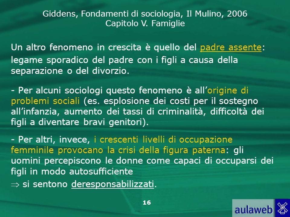 Giddens, Fondamenti di sociologia, Il Mulino, 2006 Capitolo V. Famiglie 16 Un altro fenomeno in crescita è quello del padre assente: legame sporadico