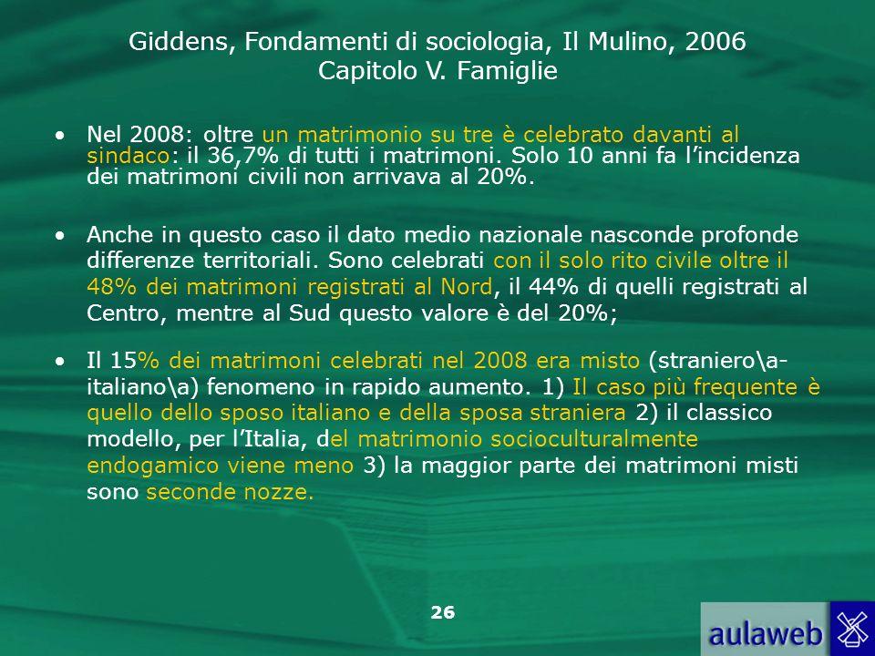 Giddens, Fondamenti di sociologia, Il Mulino, 2006 Capitolo V. Famiglie 26 Nel 2008: oltre un matrimonio su tre è celebrato davanti al sindaco: il 36,