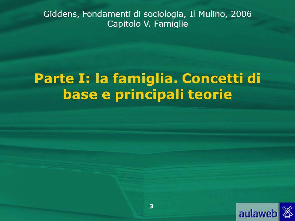 Giddens, Fondamenti di sociologia, Il Mulino, 2006 Capitolo V. Famiglie 3 Parte I: la famiglia. Concetti di base e principali teorie