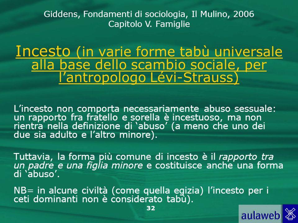 Giddens, Fondamenti di sociologia, Il Mulino, 2006 Capitolo V. Famiglie 32 Incesto (in varie forme tabù universale alla base dello scambio sociale, pe