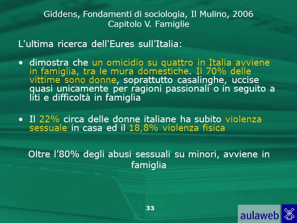 Giddens, Fondamenti di sociologia, Il Mulino, 2006 Capitolo V. Famiglie 33 L'ultima ricerca dell'Eures sullItalia: dimostra che un omicidio su quattro