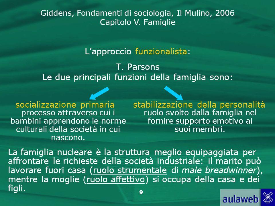 Giddens, Fondamenti di sociologia, Il Mulino, 2006 Capitolo V. Famiglie 9 Lapproccio funzionalista: T. Parsons Le due principali funzioni della famigl