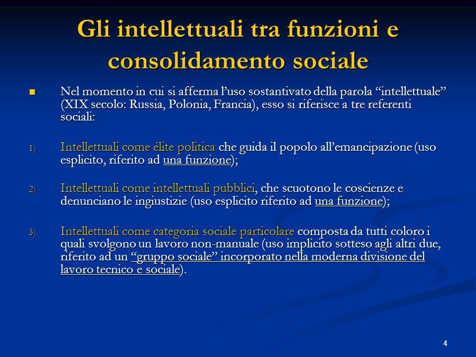 4 Gli intellettuali tra funzioni e consolidamento sociale Nel momento in cui si afferma luso sostantivato della parola intellettuale (XIX secolo: Russ