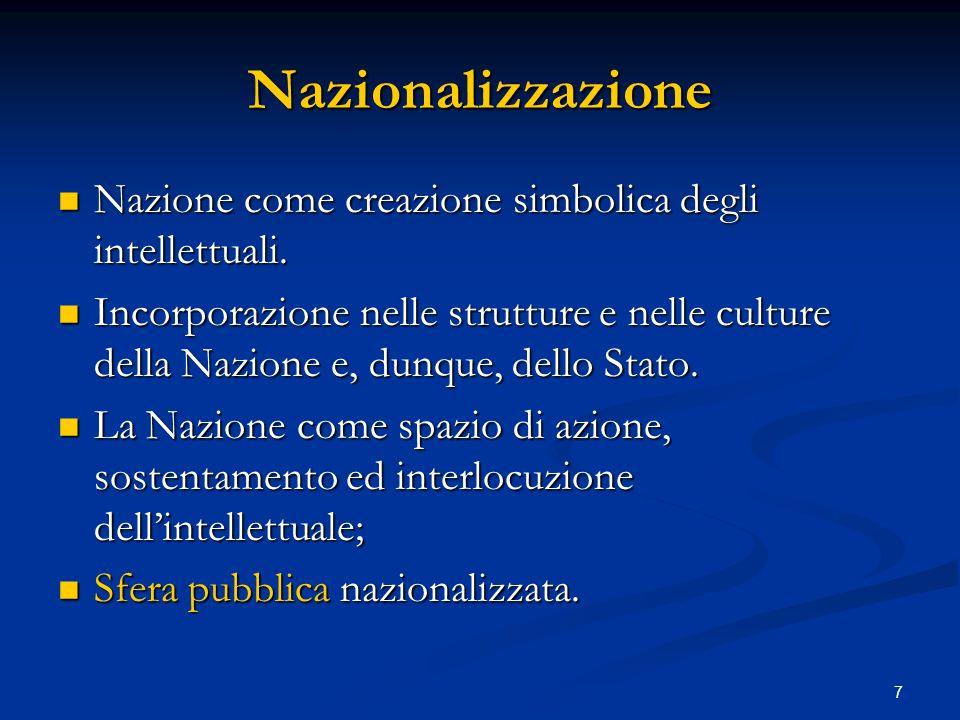 7 Nazionalizzazione Nazione come creazione simbolica degli intellettuali. Nazione come creazione simbolica degli intellettuali. Incorporazione nelle s