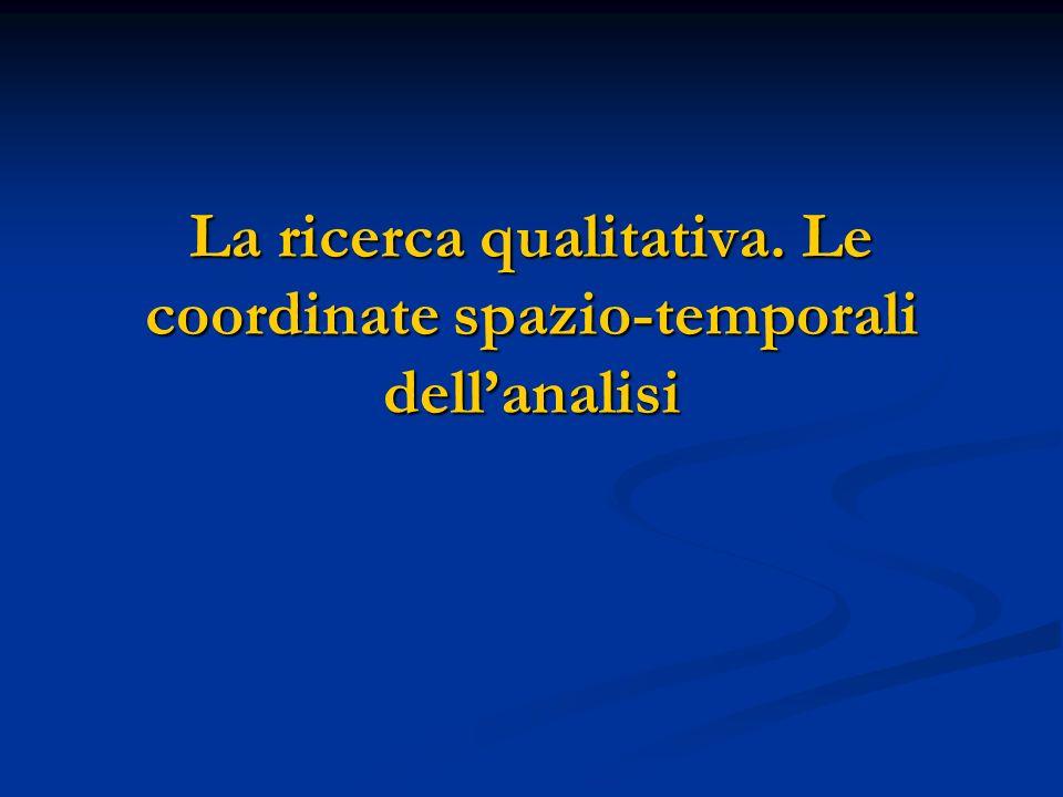 Contenuti della lezione Lapproccio qualitativo Lapproccio qualitativo Le coordinate spazio-temporali della ricerca sociale.