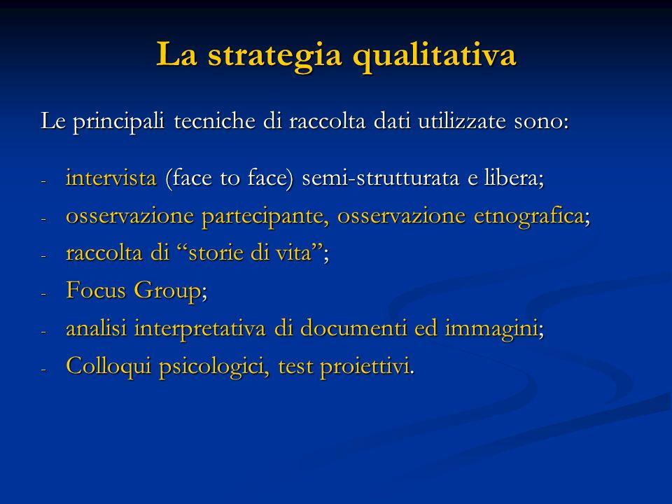 La strategia qualitativa Le principali tecniche di raccolta dati utilizzate sono: - intervista (face to face) semi-strutturata e libera; - osservazion