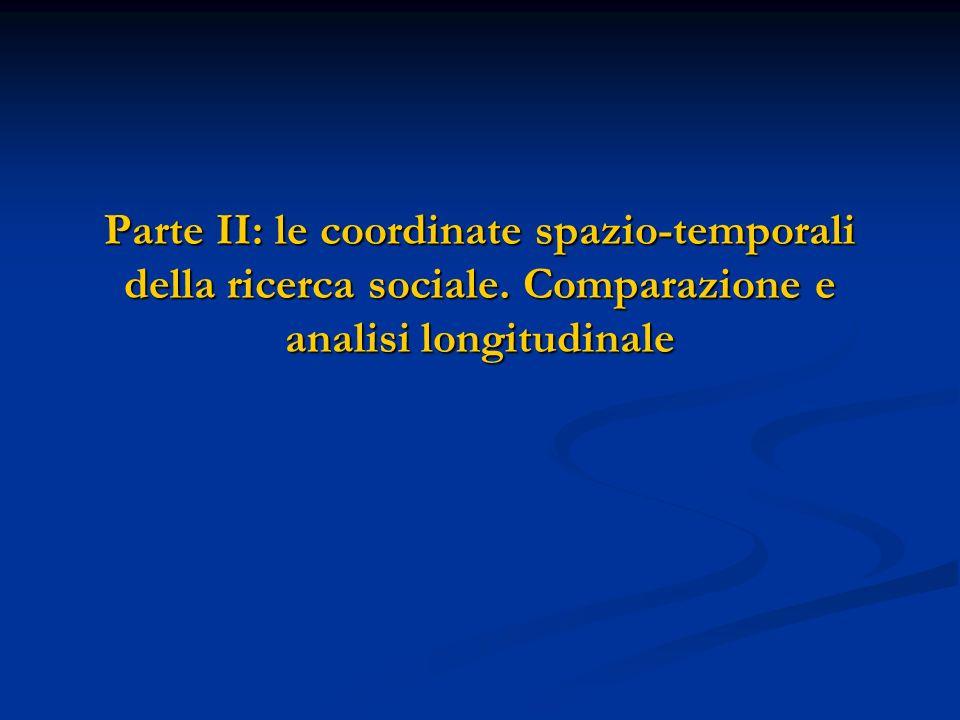 Parte II: le coordinate spazio-temporali della ricerca sociale. Comparazione e analisi longitudinale