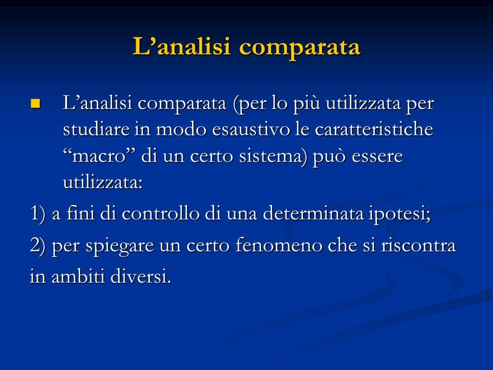 Lanalisi comparata Lanalisi comparata (per lo più utilizzata per studiare in modo esaustivo le caratteristiche macro di un certo sistema) può essere u