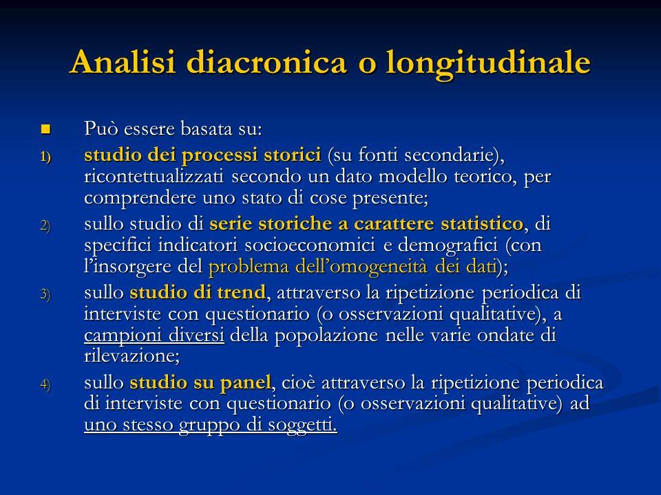 Analisi diacronica o longitudinale Può essere basata su: Può essere basata su: 1) studio dei processi storici (su fonti secondarie), ricontettualizzat