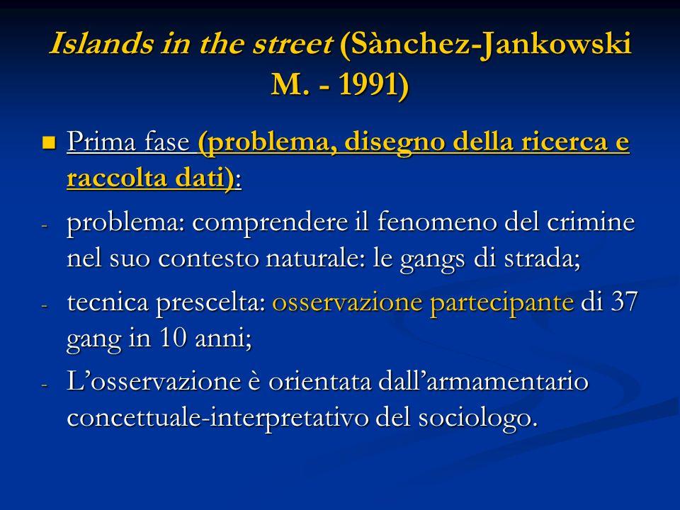 Islands in the street (Sànchez-Jankowski M. - 1991) Prima fase (problema, disegno della ricerca e raccolta dati): Prima fase (problema, disegno della