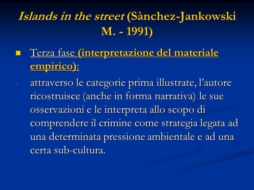 Islands in the street (Sànchez-Jankowski M. - 1991) Terza fase (interpretazione del materiale empirico): Terza fase (interpretazione del materiale emp