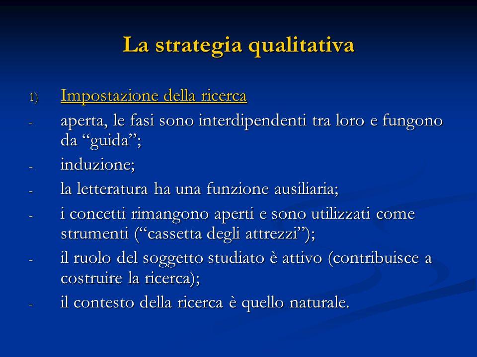 La strategia qualitativa 1) Impostazione della ricerca - aperta, le fasi sono interdipendenti tra loro e fungono da guida; - induzione; - la letteratu