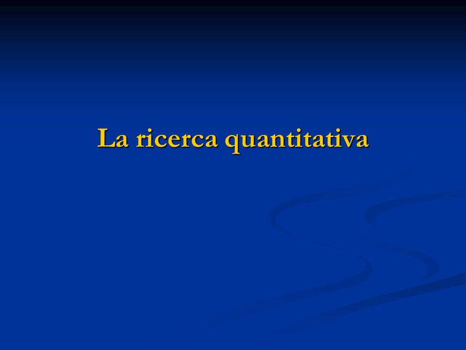 La strategia quantitativa 1) Impostazione della ricerca - strutturata, fasi logicamente consequenziali (geometricità); - deduttività; - la letteratura è fondamentale per definire teoria e ipotesi; - le ipotesi devono essere rigorose e collegate a variabili misurabili quantitativamente - il ruolo del soggetto studiato è passivo (come fosse un oggetto); - il contesto della ricerca è messo tra parentesi.