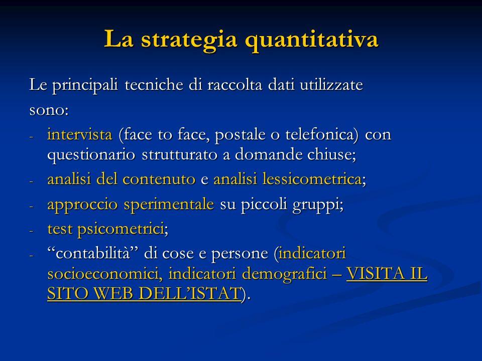 La strategia quantitativa Le principali tecniche di raccolta dati utilizzate sono: - intervista (face to face, postale o telefonica) con questionario