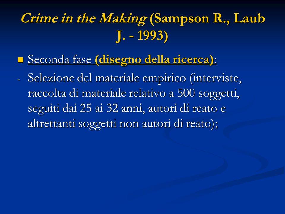 Crime in the Making (Sampson R., Laub J. - 1993) Seconda fase (disegno della ricerca): Seconda fase (disegno della ricerca): - Selezione del materiale