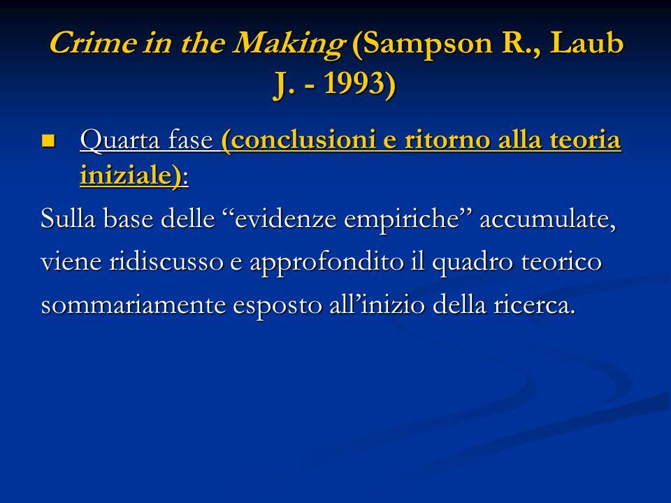 Crime in the Making (Sampson R., Laub J. - 1993) Quarta fase (conclusioni e ritorno alla teoria iniziale): Quarta fase (conclusioni e ritorno alla teo