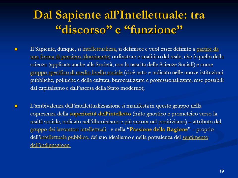 19 Dal Sapiente allIntellettuale: tra discorso e funzione Il Sapiente, dunque, si intellettualizza, si definisce e vuol esser definito a partire da un