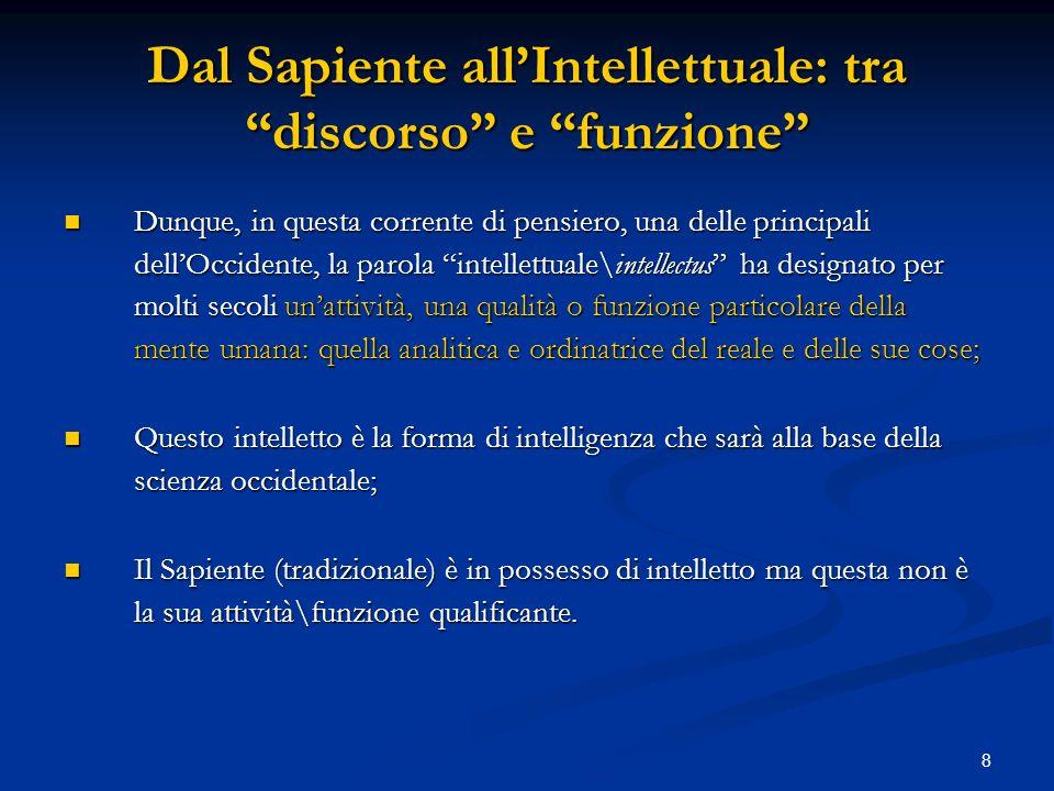 8 Dal Sapiente allIntellettuale: tra discorso e funzione Dunque, in questa corrente di pensiero, una delle principali dellOccidente, la parola intelle