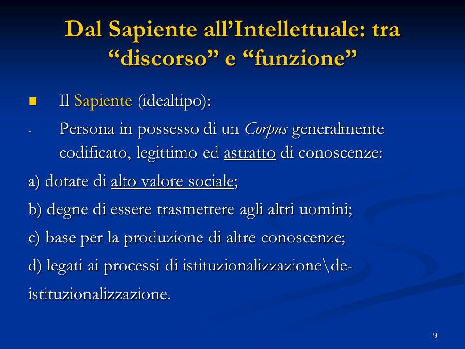 9 Dal Sapiente allIntellettuale: tra discorso e funzione Il Sapiente (idealtipo): Il Sapiente (idealtipo): - Persona in possesso di un Corpus generalm