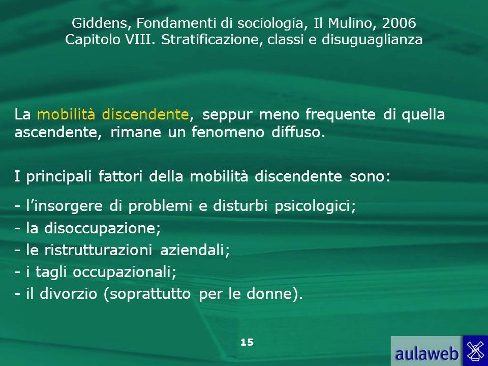 Giddens, Fondamenti di sociologia, Il Mulino, 2006 Capitolo VIII. Stratificazione, classi e disuguaglianza 15 La mobilità discendente, seppur meno fre