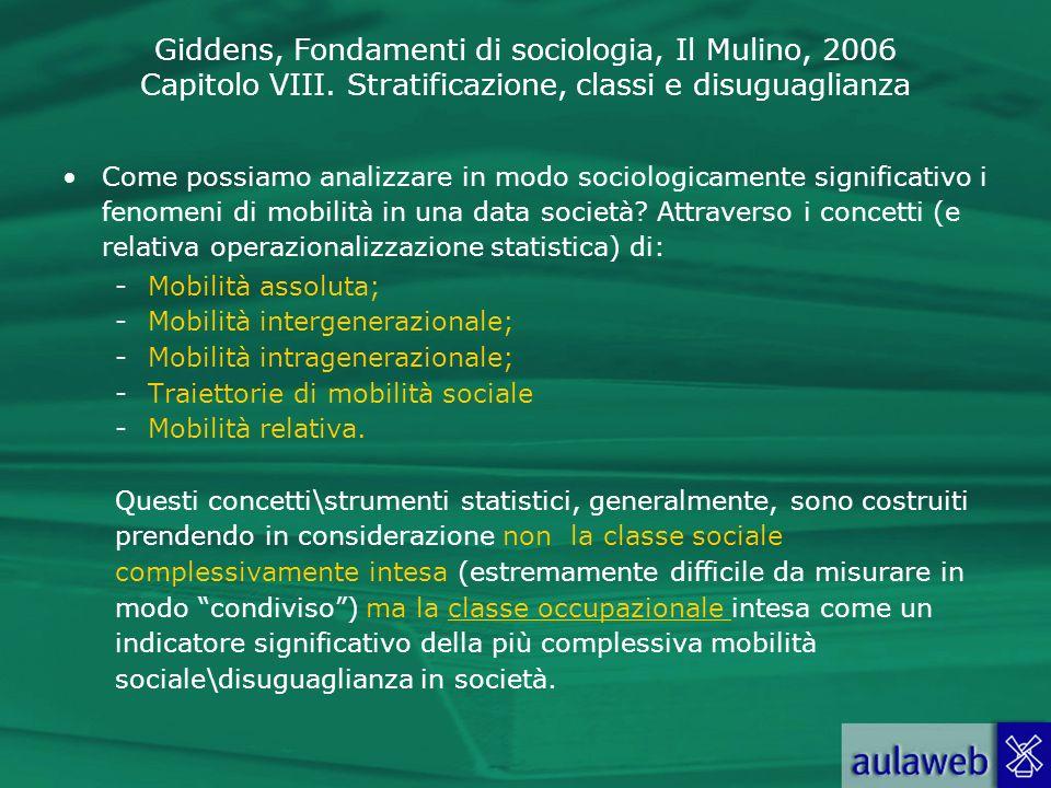 Giddens, Fondamenti di sociologia, Il Mulino, 2006 Capitolo VIII. Stratificazione, classi e disuguaglianza Come possiamo analizzare in modo sociologic