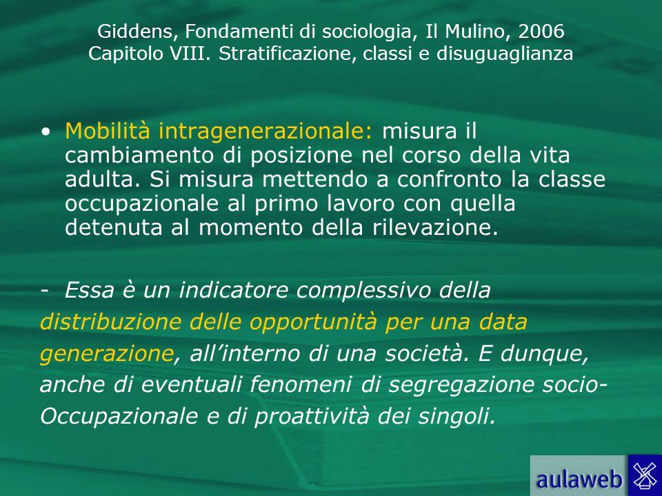 Giddens, Fondamenti di sociologia, Il Mulino, 2006 Capitolo VIII. Stratificazione, classi e disuguaglianza Mobilità intragenerazionale: misura il camb