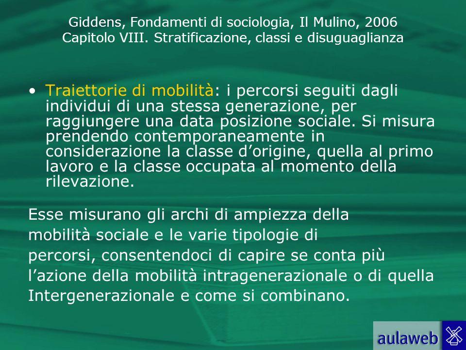 Giddens, Fondamenti di sociologia, Il Mulino, 2006 Capitolo VIII. Stratificazione, classi e disuguaglianza Traiettorie di mobilità: i percorsi seguiti