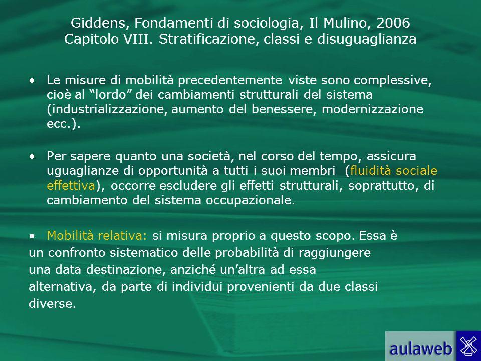 Giddens, Fondamenti di sociologia, Il Mulino, 2006 Capitolo VIII. Stratificazione, classi e disuguaglianza Le misure di mobilità precedentemente viste