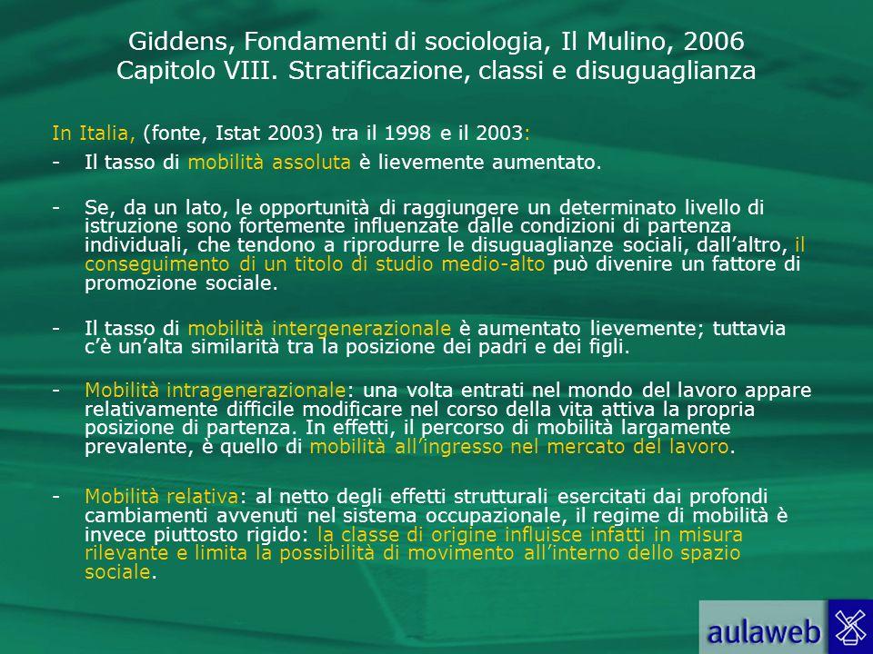 Giddens, Fondamenti di sociologia, Il Mulino, 2006 Capitolo VIII. Stratificazione, classi e disuguaglianza In Italia, (fonte, Istat 2003) tra il 1998