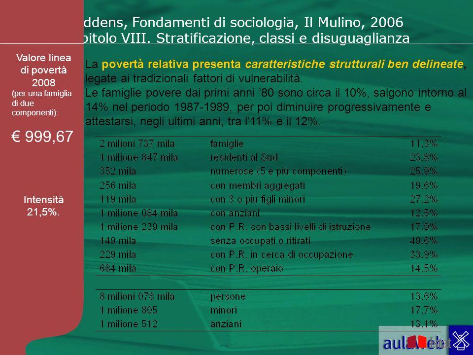 Giddens, Fondamenti di sociologia, Il Mulino, 2006 Capitolo VIII. Stratificazione, classi e disuguaglianza La povertà relativa presenta caratteristich