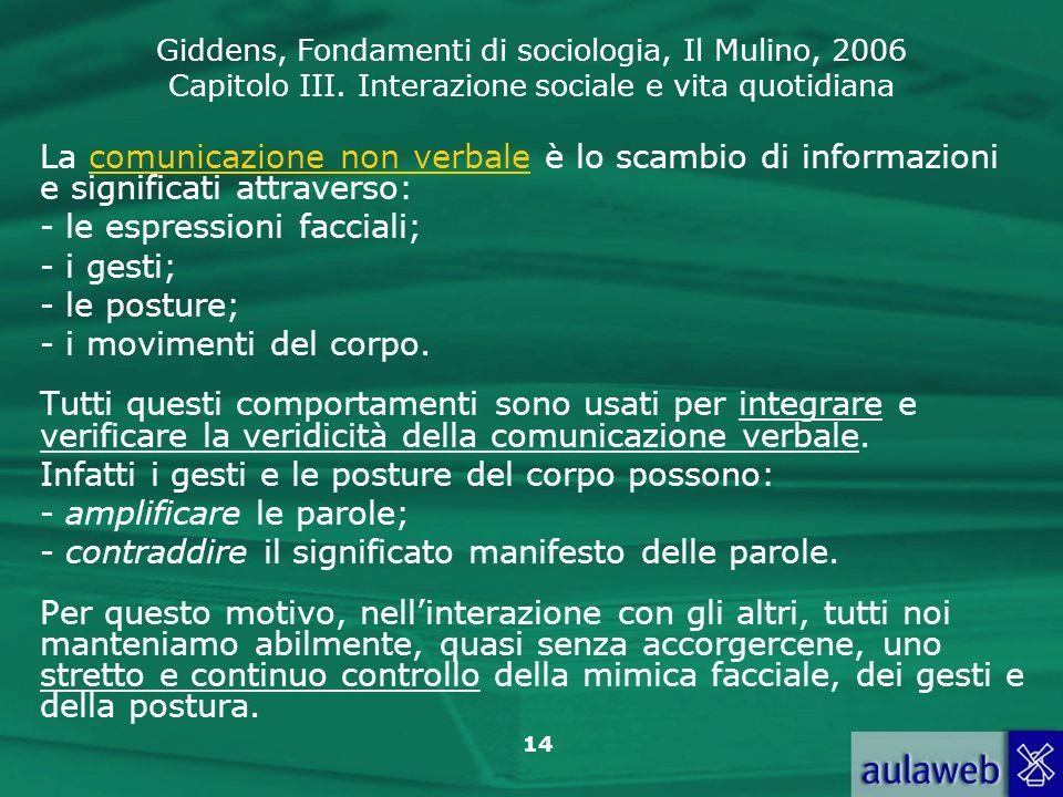 Giddens, Fondamenti di sociologia, Il Mulino, 2006 Capitolo III. Interazione sociale e vita quotidiana 14 La comunicazione non verbale è lo scambio di