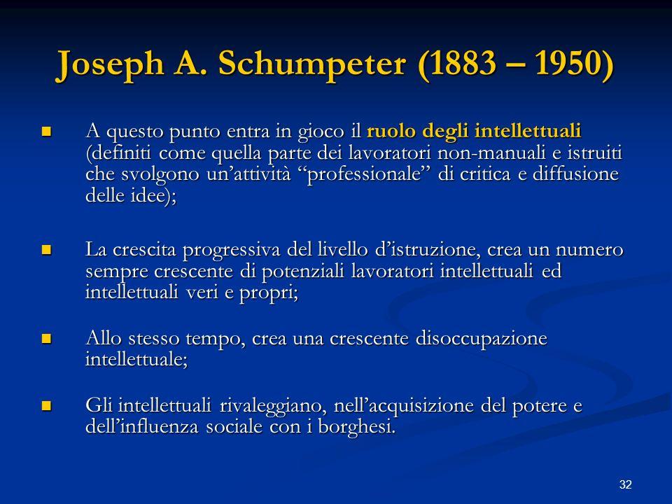 32 Joseph A. Schumpeter (1883 – 1950) A questo punto entra in gioco il ruolo degli intellettuali (definiti come quella parte dei lavoratori non-manual