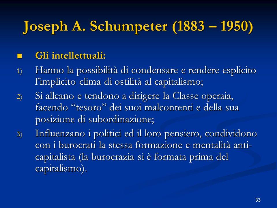 33 Joseph A. Schumpeter (1883 – 1950) Gli intellettuali: Gli intellettuali: 1) Hanno la possibilità di condensare e rendere esplicito limplicito clima