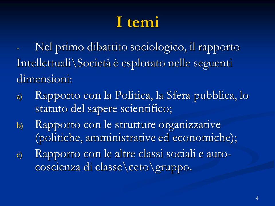 4 I temi - Nel primo dibattito sociologico, il rapporto Intellettuali\Società è esplorato nelle seguenti dimensioni: a) Rapporto con la Politica, la S