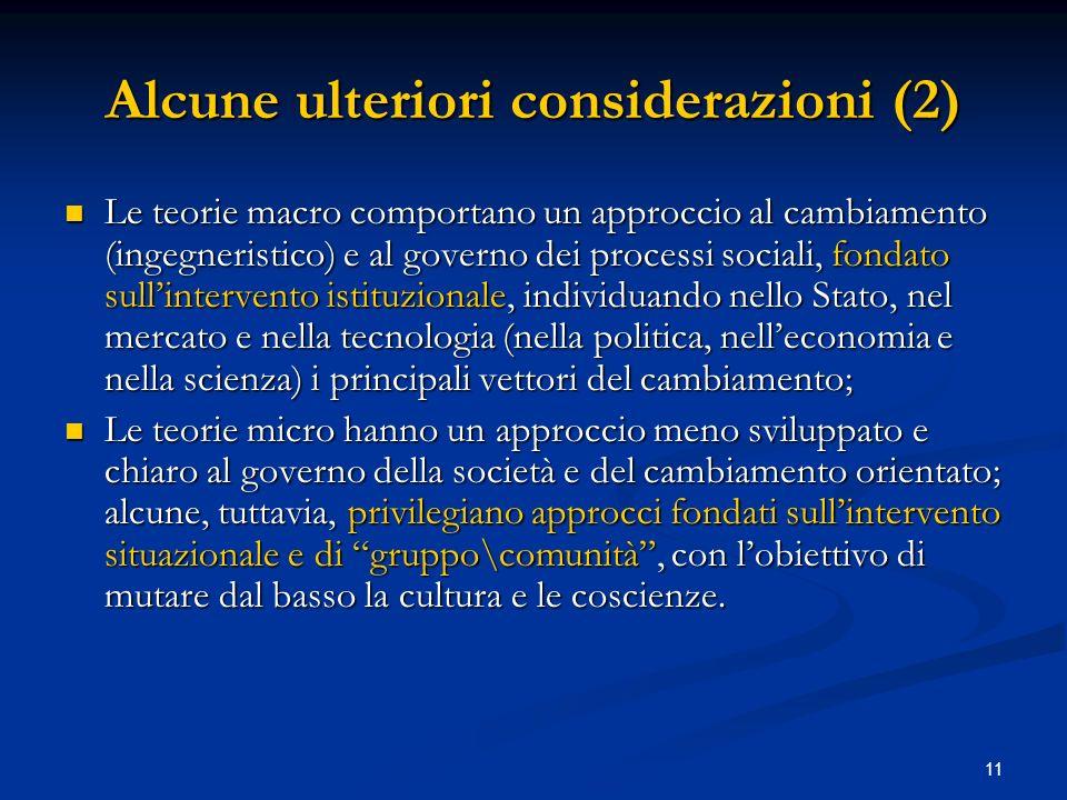11 Alcune ulteriori considerazioni (2) Le teorie macro comportano un approccio al cambiamento (ingegneristico) e al governo dei processi sociali, fond