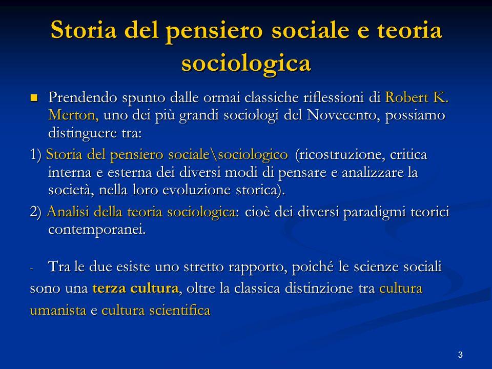3 Storia del pensiero sociale e teoria sociologica Prendendo spunto dalle ormai classiche riflessioni di Robert K. Merton, uno dei più grandi sociolog