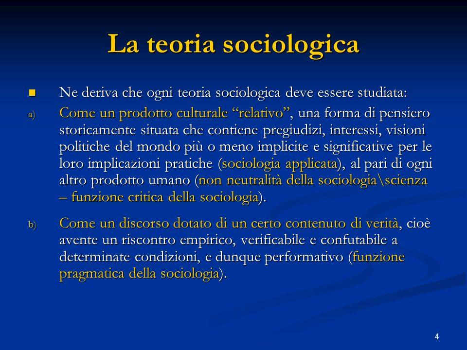 4 La teoria sociologica Ne deriva che ogni teoria sociologica deve essere studiata: Ne deriva che ogni teoria sociologica deve essere studiata: a) Com
