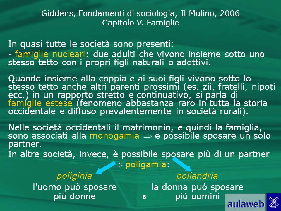 Giddens, Fondamenti di sociologia, Il Mulino, 2006 Capitolo V. Famiglie 6 In quasi tutte le società sono presenti: - famiglie nucleari: due adulti che