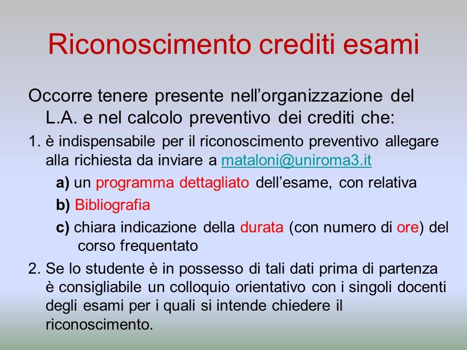 Riconoscimento crediti esami Occorre tenere presente nellorganizzazione del L.A. e nel calcolo preventivo dei crediti che: 1.è indispensabile per il r